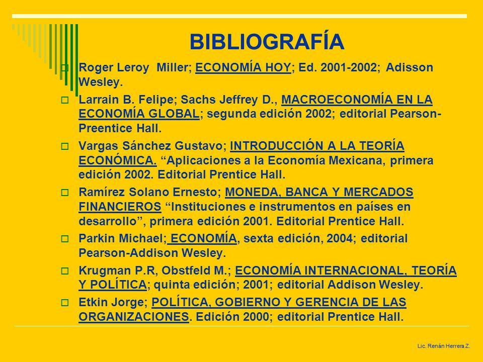 BIBLIOGRAFÍA N. Mankiw, Gregory; PRINCIPIOS DE ECONOMÍA, segunda edición, Mc Graw Hill. Mankiw, Gregory. PRINCIPIOS DE MACROECONOMÍA. 1998. Mc Graw Hi