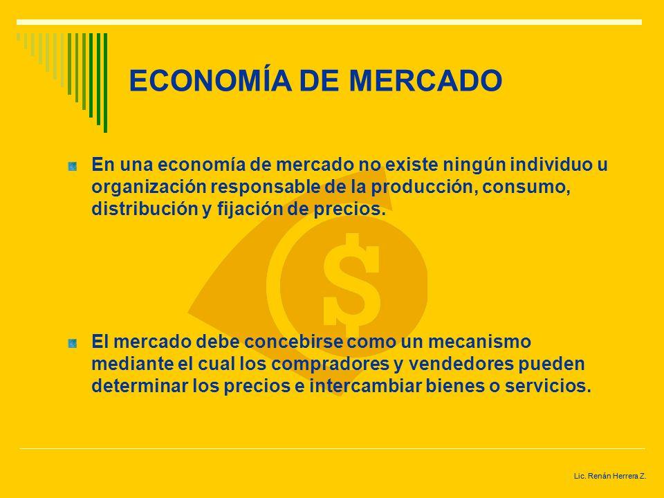Lic. Renán Herrera Z. ECONOMÍA DE MERCADO Es un mecanismo que coordina individuos, actividades, y a las empresas por medio de un sistema de precios. E