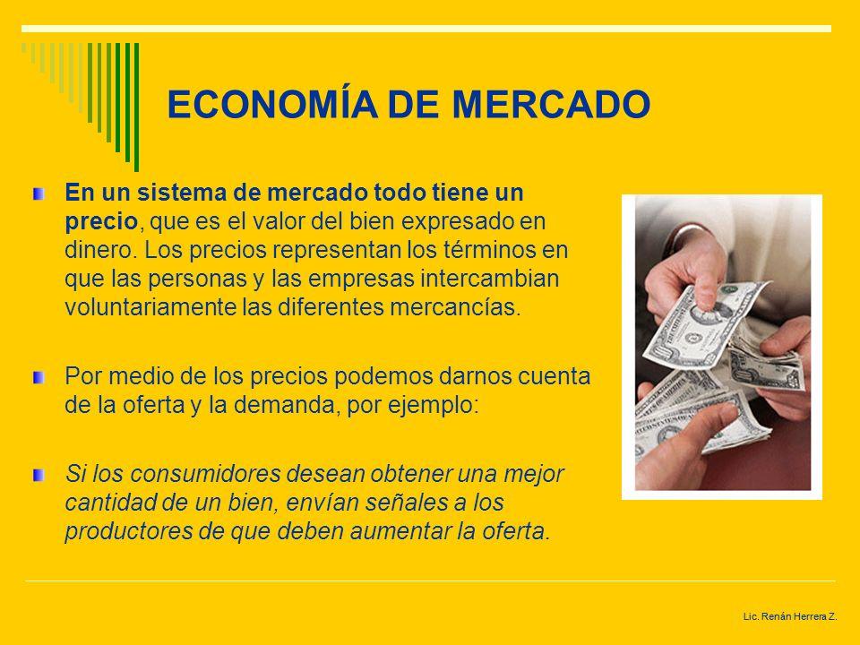 Lic. Renán Herrera Z. ECONOMÍA DE MERCADO En una economía de mercado no existe ningún individuo u organización responsable de la producción, consumo,