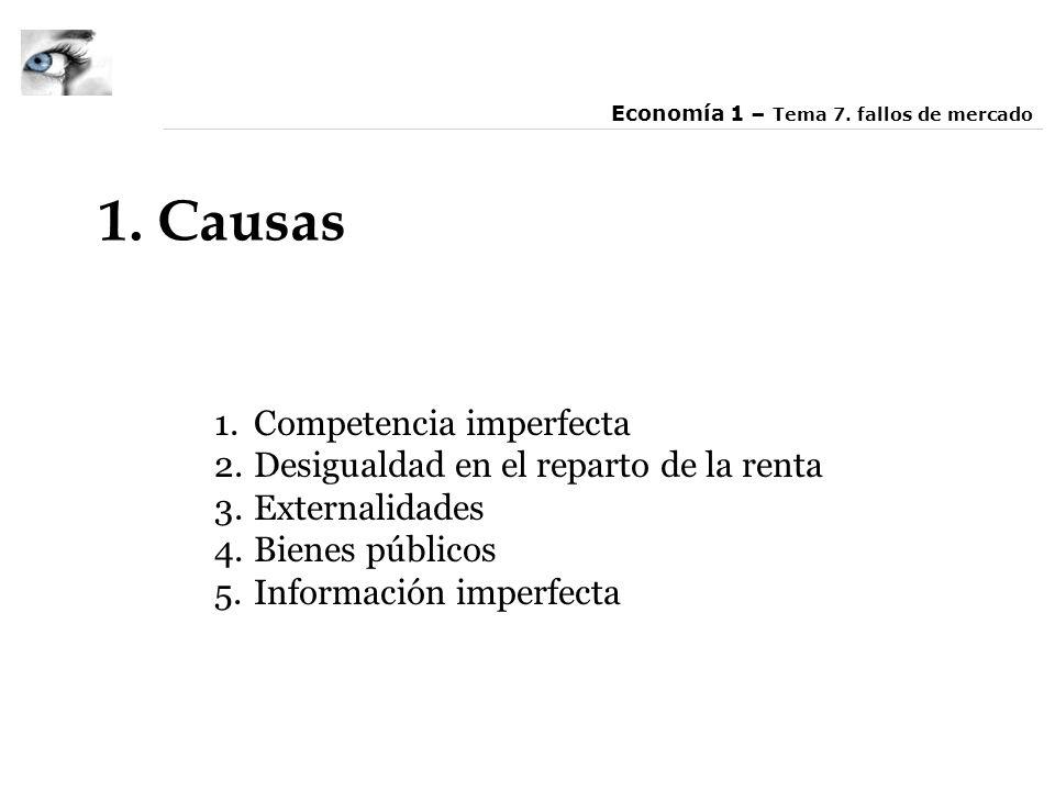 1. Causas 1.Competencia imperfecta 2.Desigualdad en el reparto de la renta 3.Externalidades 4.Bienes públicos 5.Información imperfecta Economía 1 – Te