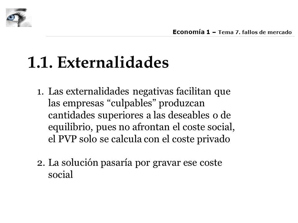 1.1. Externalidades 1.Las externalidades negativas facilitan que las empresas culpables produzcan cantidades superiores a las deseables o de equilibri