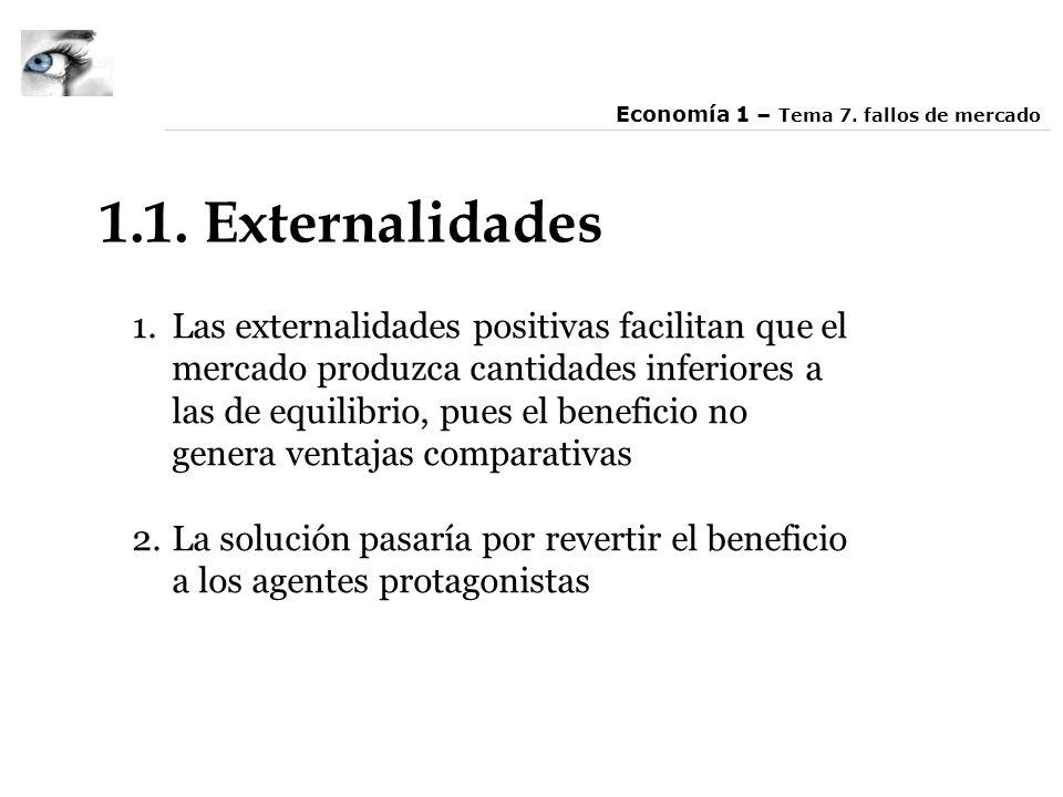 1.1. Externalidades 1.Las externalidades positivas facilitan que el mercado produzca cantidades inferiores a las de equilibrio, pues el beneficio no g