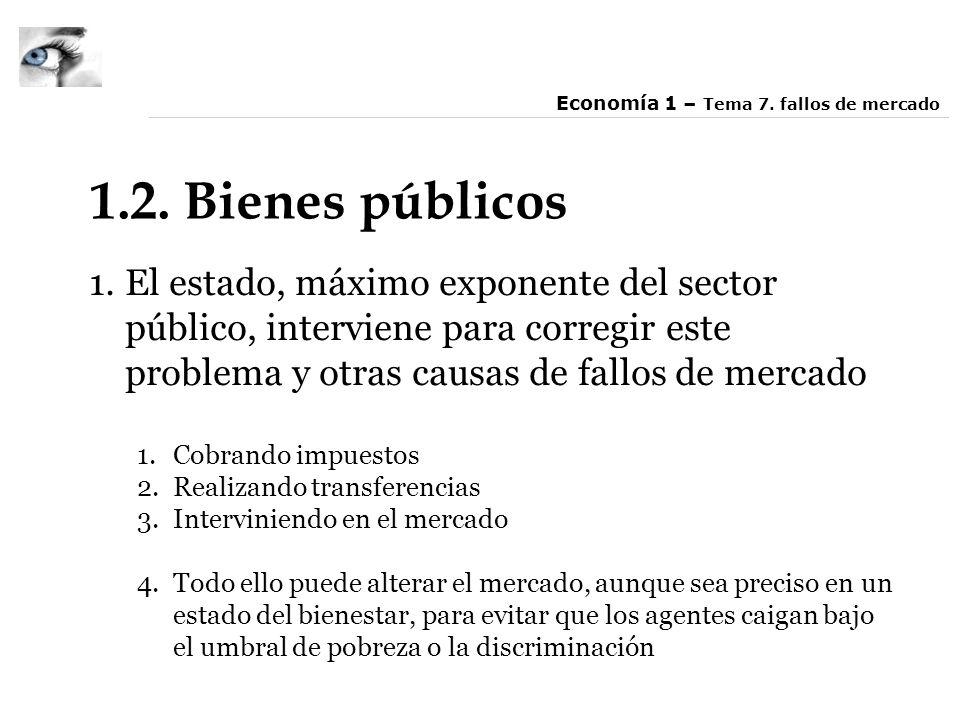 1.2. Bienes públicos 1.El estado, máximo exponente del sector público, interviene para corregir este problema y otras causas de fallos de mercado 1.Co