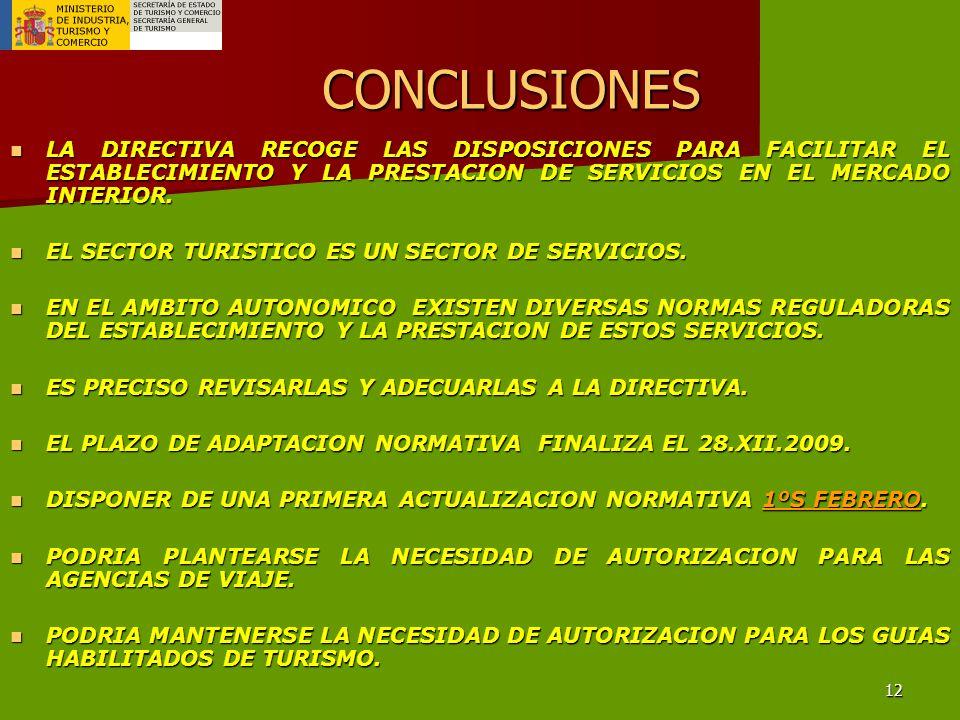 12 CONCLUSIONES LA DIRECTIVA RECOGE LAS DISPOSICIONES PARA FACILITAR EL ESTABLECIMIENTO Y LA PRESTACION DE SERVICIOS EN EL MERCADO INTERIOR.