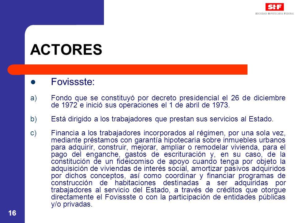 16 ACTORES Fovissste: a)Fondo que se constituyó por decreto presidencial el 26 de diciembre de 1972 e inició sus operaciones el 1 de abril de 1973. b)