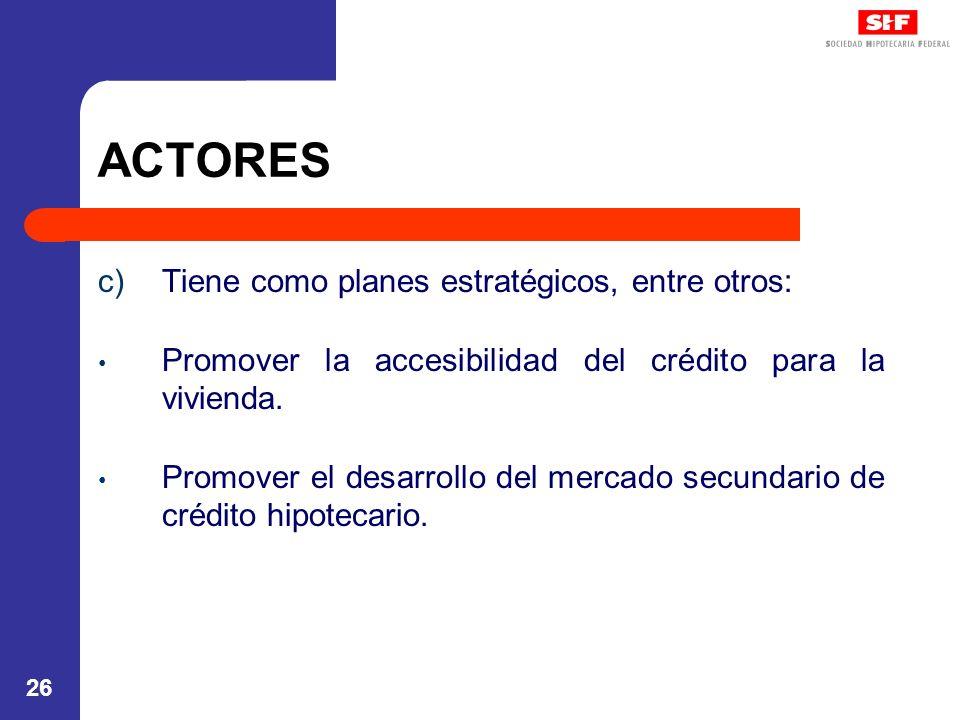 26 ACTORES c)Tiene como planes estratégicos, entre otros: Promover la accesibilidad del crédito para la vivienda. Promover el desarrollo del mercado s