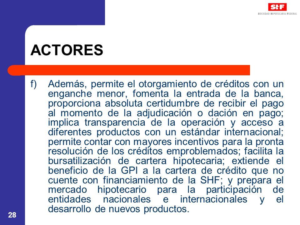 28 ACTORES f)Además, permite el otorgamiento de créditos con un enganche menor, fomenta la entrada de la banca, proporciona absoluta certidumbre de re