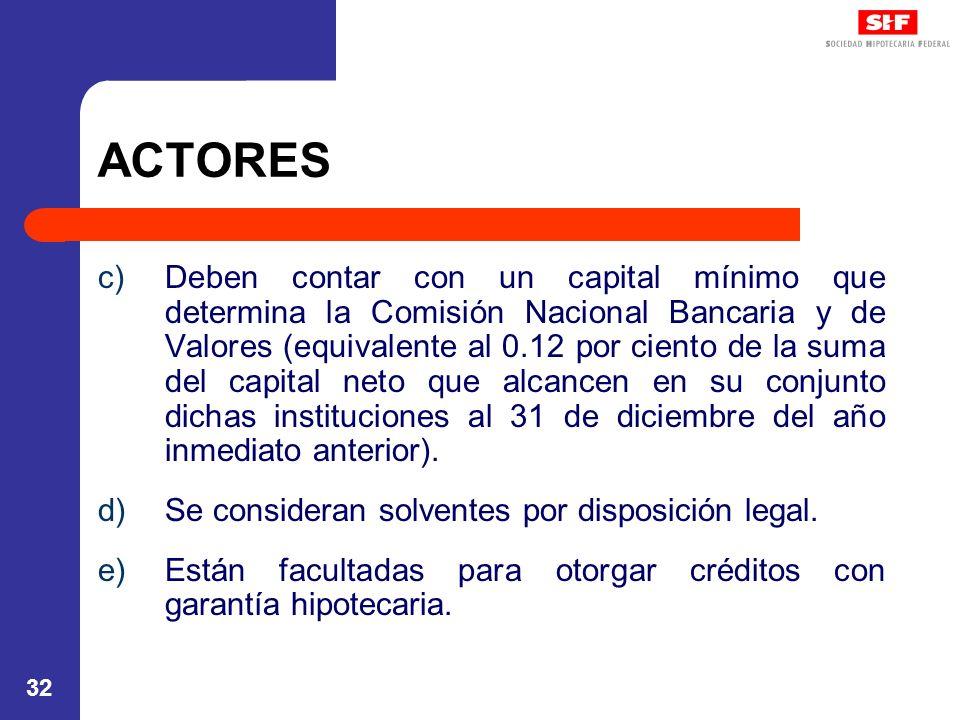 32 ACTORES c)Deben contar con un capital mínimo que determina la Comisión Nacional Bancaria y de Valores (equivalente al 0.12 por ciento de la suma de