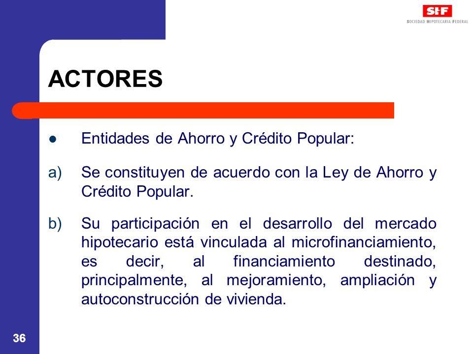 36 ACTORES Entidades de Ahorro y Crédito Popular: a)Se constituyen de acuerdo con la Ley de Ahorro y Crédito Popular. b)Su participación en el desarro