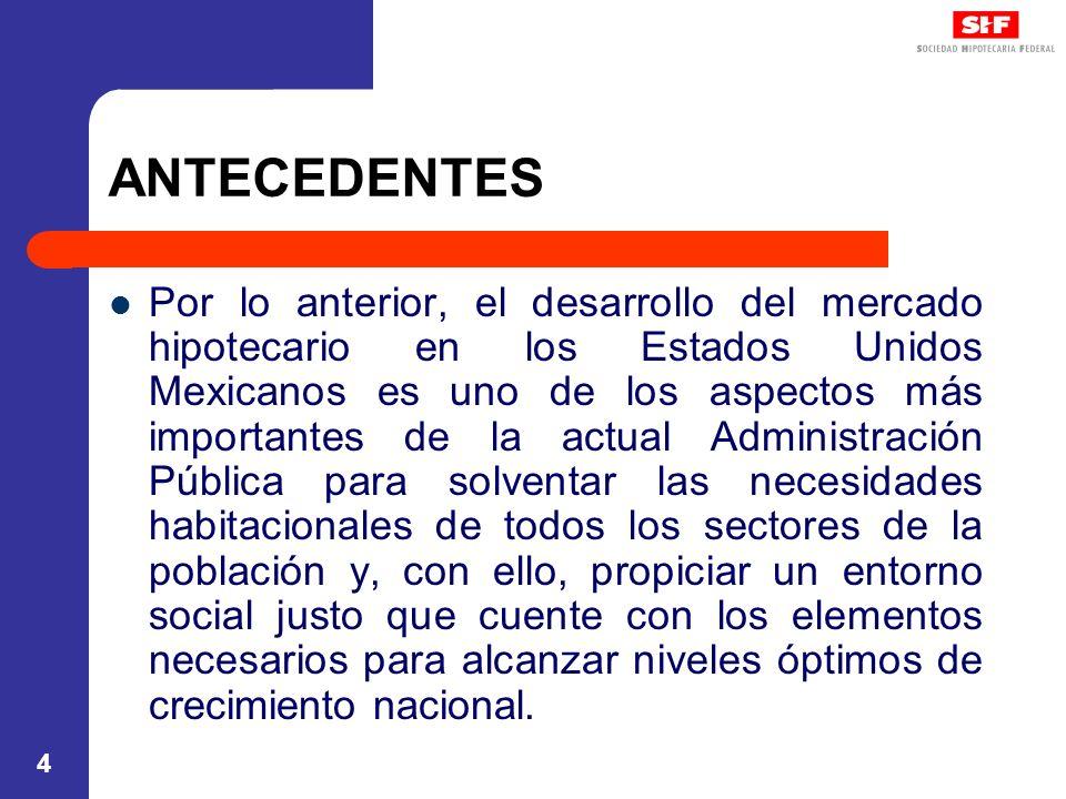 5 ANTECEDENTES En este sexenio se constituyeron dos instancias públicas de suma importancia en el desarrollo del mercado hipotecario en México: Comisión Nacional de Fomento a la Vivienda y Sociedad Hipotecaria Federal, Sociedad Nacional de Crédito, Institución de Banca de Desarrollo.