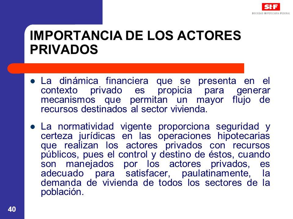 40 IMPORTANCIA DE LOS ACTORES PRIVADOS La dinámica financiera que se presenta en el contexto privado es propicia para generar mecanismos que permitan un mayor flujo de recursos destinados al sector vivienda.