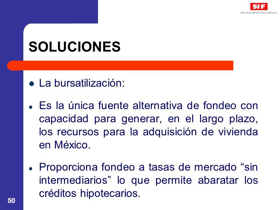 50 SOLUCIONES La bursatilización: Es la única fuente alternativa de fondeo con capacidad para generar, en el largo plazo, los recursos para la adquisi