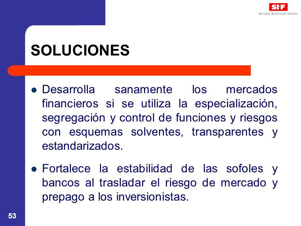 53 SOLUCIONES Desarrolla sanamente los mercados financieros si se utiliza la especialización, segregación y control de funciones y riesgos con esquemas solventes, transparentes y estandarizados.