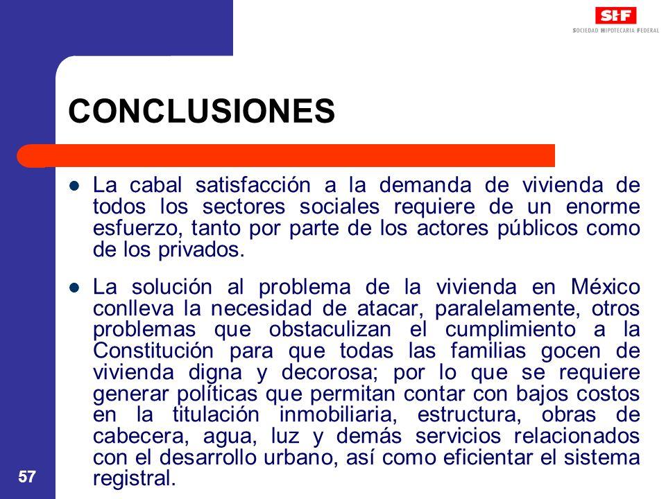 57 CONCLUSIONES La cabal satisfacción a la demanda de vivienda de todos los sectores sociales requiere de un enorme esfuerzo, tanto por parte de los actores públicos como de los privados.