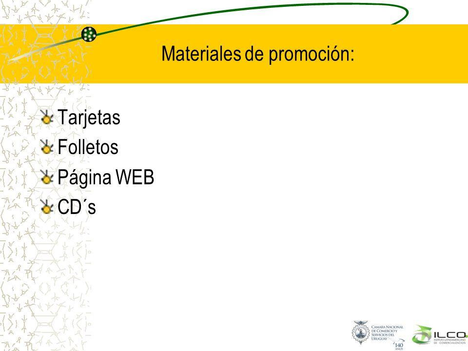 Materiales de promoción: Tarjetas Folletos Página WEB CD´s