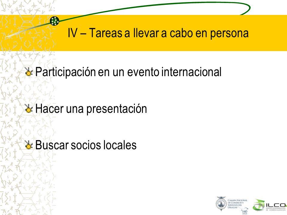 IV – Tareas a llevar a cabo en persona Participación en un evento internacional Hacer una presentación Buscar socios locales