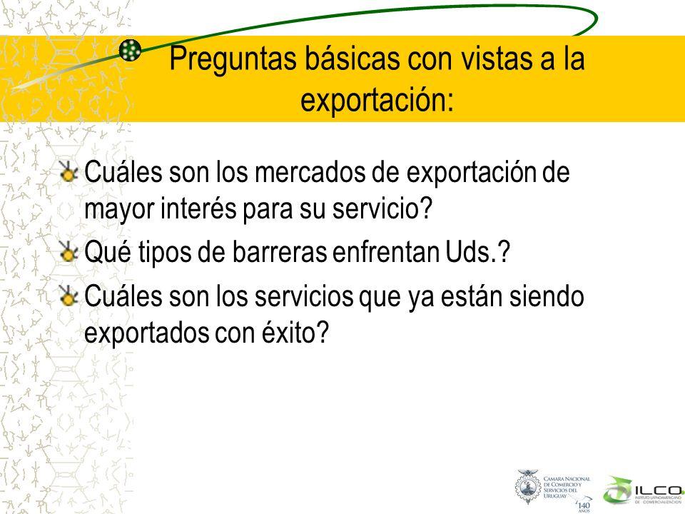 Preguntas básicas con vistas a la exportación: Cuáles son los mercados de exportación de mayor interés para su servicio? Qué tipos de barreras enfrent