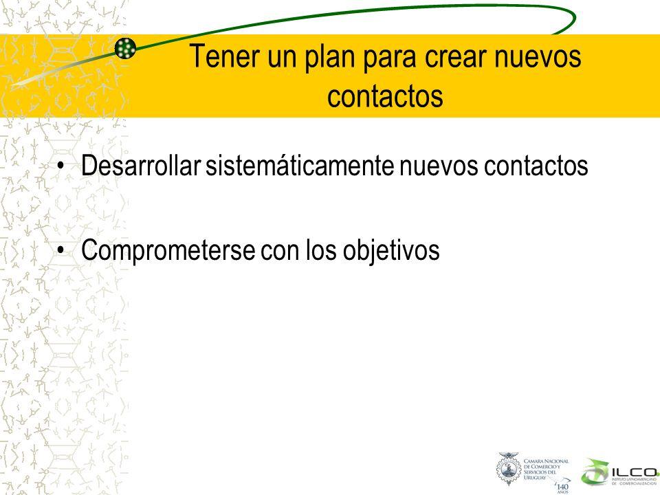 Tener un plan para crear nuevos contactos Desarrollar sistemáticamente nuevos contactos Comprometerse con los objetivos