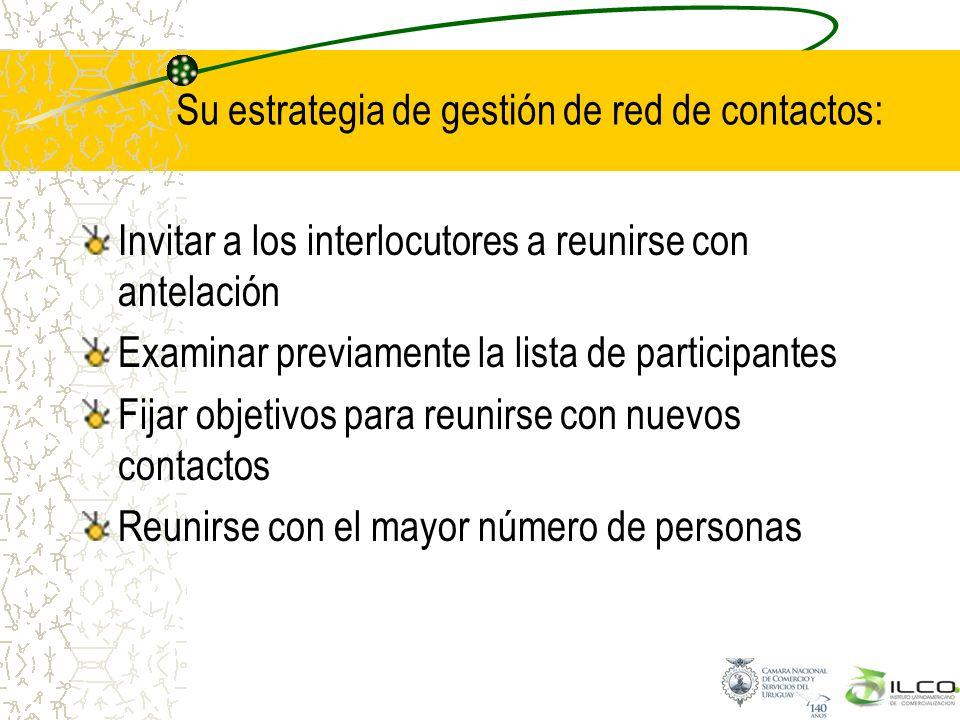 Su estrategia de gestión de red de contactos: Invitar a los interlocutores a reunirse con antelación Examinar previamente la lista de participantes Fi