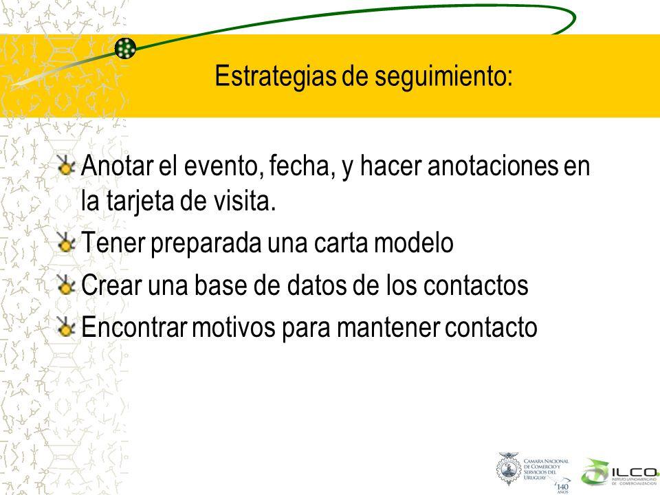 Estrategias de seguimiento: Anotar el evento, fecha, y hacer anotaciones en la tarjeta de visita. Tener preparada una carta modelo Crear una base de d
