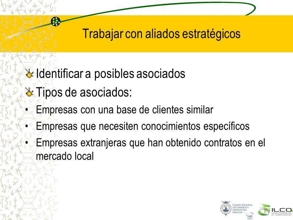 Trabajar con aliados estratégicos Identificar a posibles asociados Tipos de asociados: Empresas con una base de clientes similar Empresas que necesite