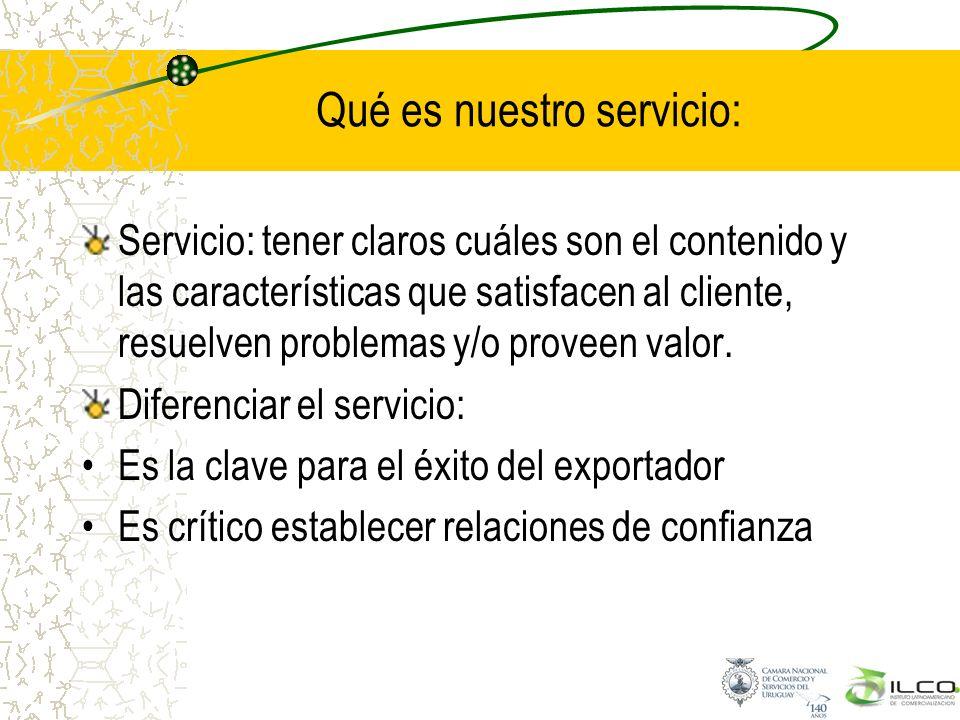 Qué es nuestro servicio: Servicio: tener claros cuáles son el contenido y las características que satisfacen al cliente, resuelven problemas y/o prove