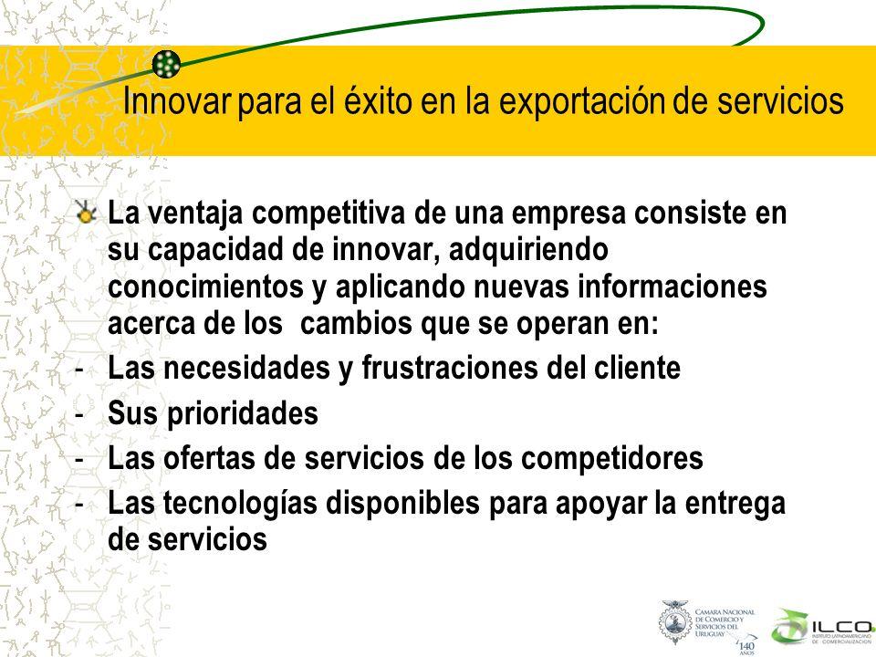 Innovar para el éxito en la exportación de servicios La ventaja competitiva de una empresa consiste en su capacidad de innovar, adquiriendo conocimien