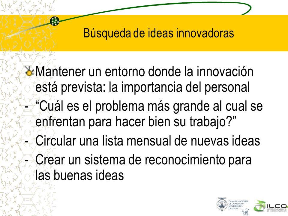 Búsqueda de ideas innovadoras Mantener un entorno donde la innovación está prevista: la importancia del personal -Cuál es el problema más grande al cu