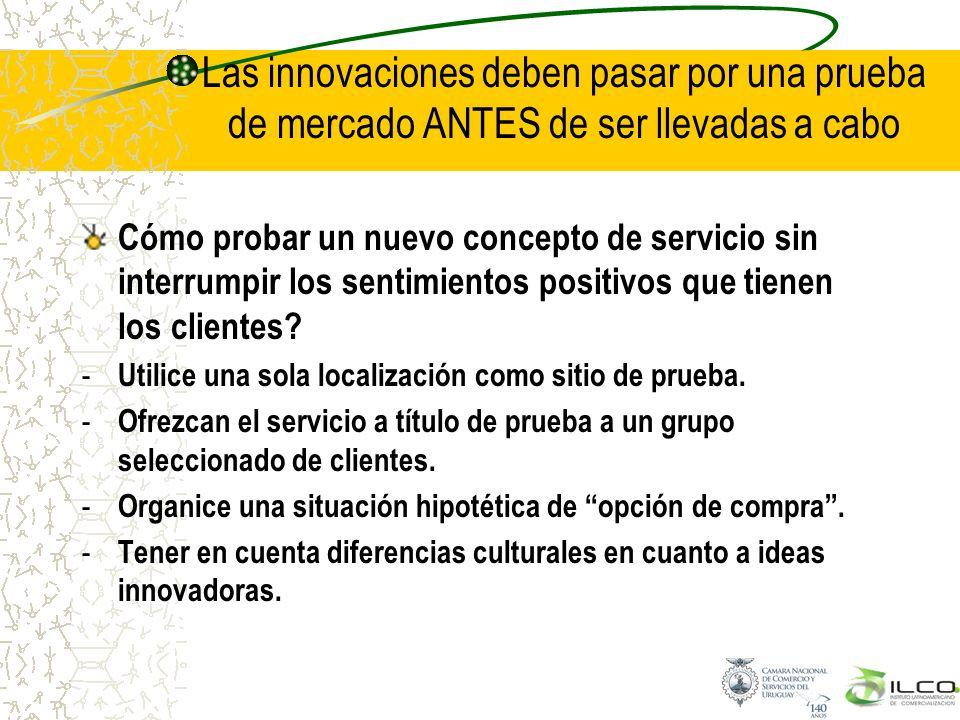 Las innovaciones deben pasar por una prueba de mercado ANTES de ser llevadas a cabo Cómo probar un nuevo concepto de servicio sin interrumpir los sent