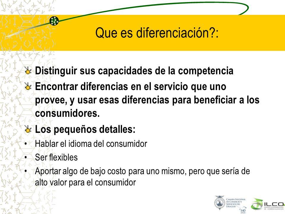 Que es diferenciación?: Distinguir sus capacidades de la competencia Encontrar diferencias en el servicio que uno provee, y usar esas diferencias para