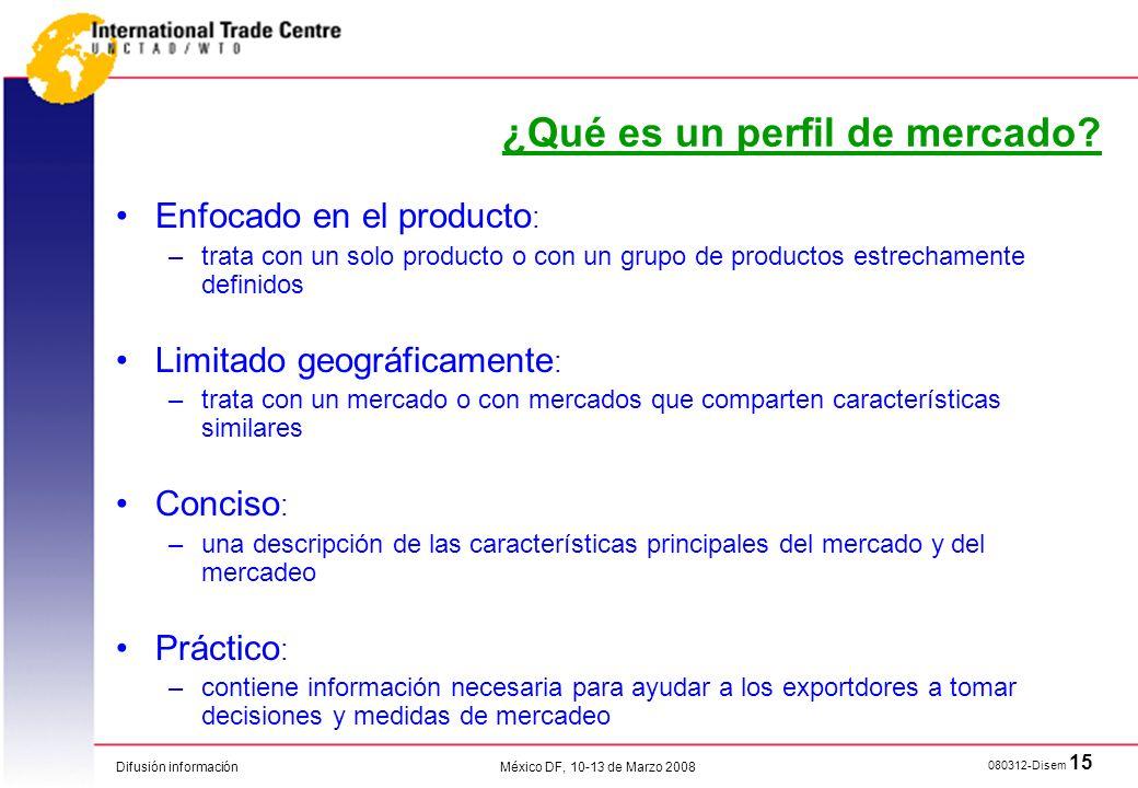 Difusión información 080312-Disem 15 México DF, 10-13 de Marzo 2008 ¿Qué es un perfil de mercado? Enfocado en el producto : –trata con un solo product