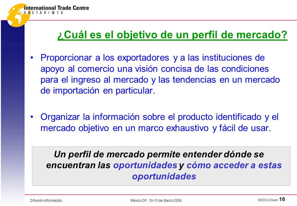 Difusión información 080312-Disem 16 México DF, 10-13 de Marzo 2008 Proporcionar a los exportadores y a las instituciones de apoyo al comercio una vis