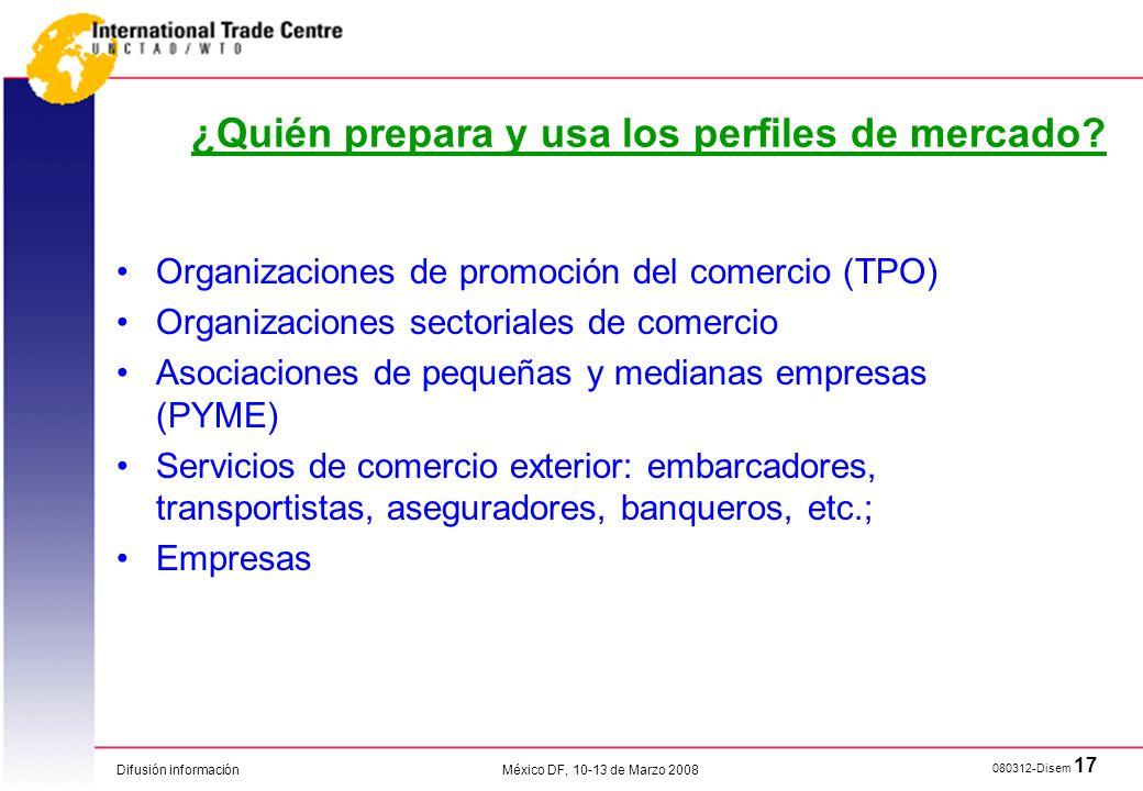 Difusión información 080312-Disem 17 México DF, 10-13 de Marzo 2008 ¿Quién prepara y usa los perfiles de mercado? Organizaciones de promoción del come