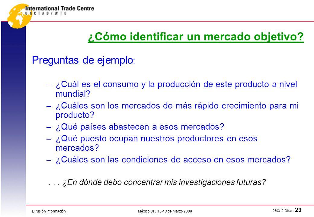 Difusión información 080312-Disem 23 México DF, 10-13 de Marzo 2008 ¿Cómo identificar un mercado objetivo? Preguntas de ejemplo : –¿Cuál es el consumo