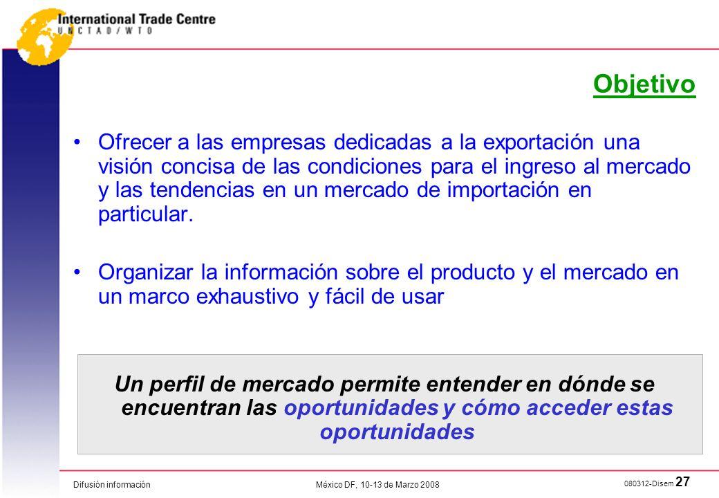 Difusión información 080312-Disem 27 México DF, 10-13 de Marzo 2008 Ofrecer a las empresas dedicadas a la exportación una visión concisa de las condic