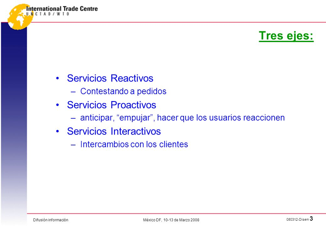 Difusión información 080312-Disem 3 México DF, 10-13 de Marzo 2008 Tres ejes: Servicios Reactivos –Contestando a pedidos Servicios Proactivos –anticip
