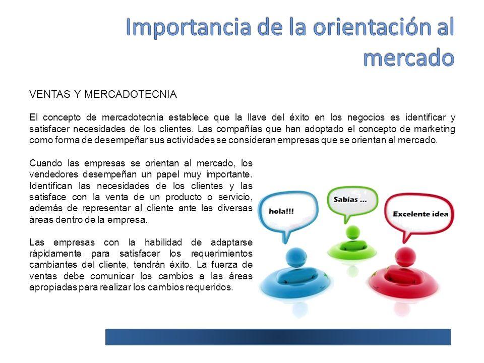 VENTAS Y MERCADOTECNIA El concepto de mercadotecnia establece que la llave del éxito en los negocios es identificar y satisfacer necesidades de los clientes.