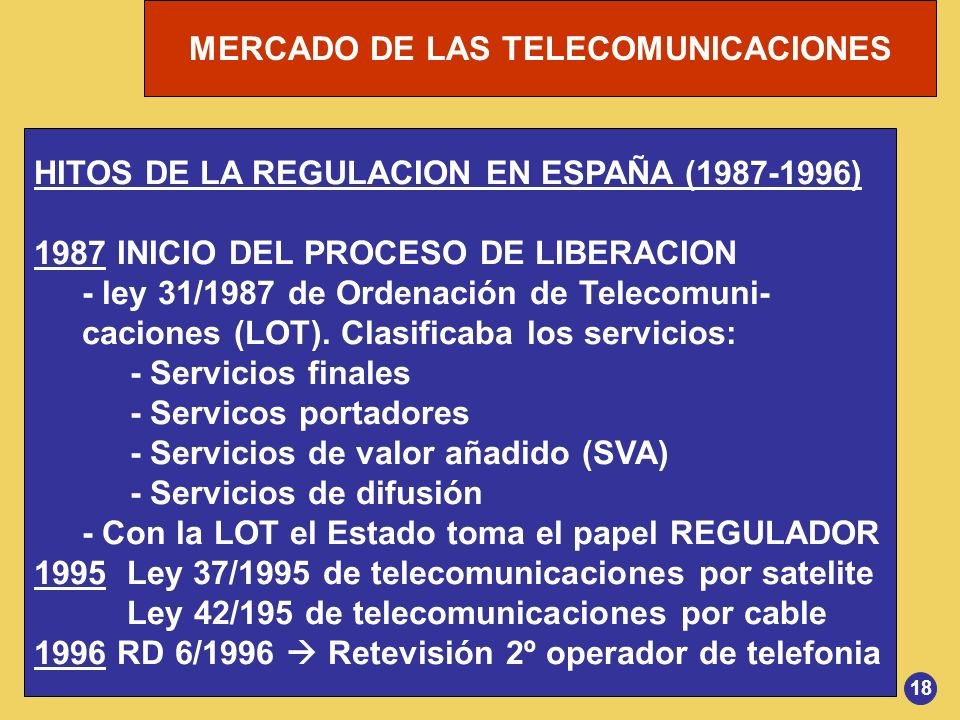 MERCADO DE LAS TELECOMUNICACIONES HITOS DE LA REGULACION EN ESPAÑA (1987-1996) 1987 INICIO DEL PROCESO DE LIBERACION - ley 31/1987 de Ordenación de Te