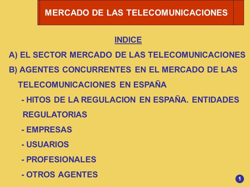 1 INDICE A) EL SECTOR MERCADO DE LAS TELECOMUNICACIONES B) AGENTES CONCURRENTES EN EL MERCADO DE LAS TELECOMUNICACIONES EN ESPAÑA - HITOS DE LA REGULA