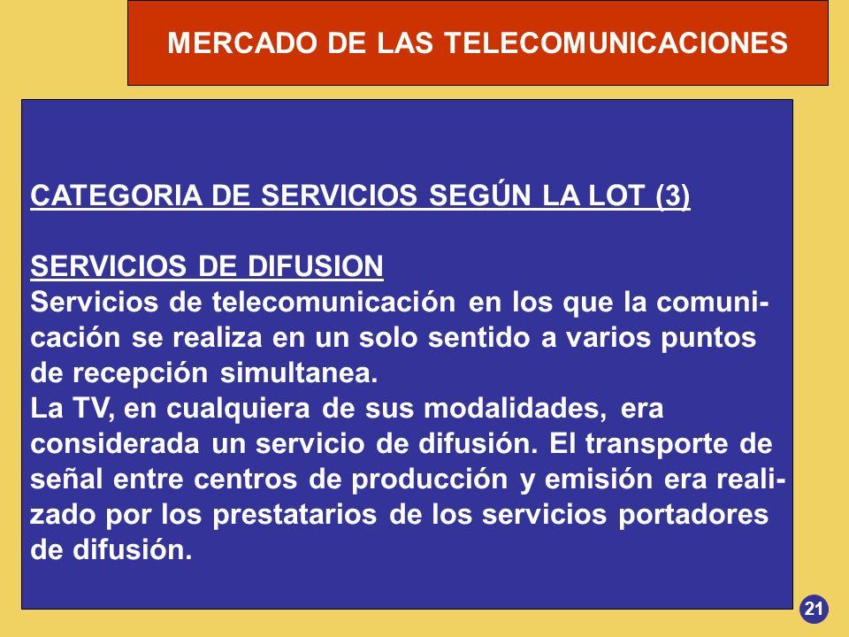 MERCADO DE LAS TELECOMUNICACIONES 21 CATEGORIA DE SERVICIOS SEGÚN LA LOT (3) SERVICIOS DE DIFUSION Servicios de telecomunicación en los que la comuni-