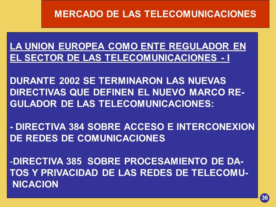 MERCADO DE LAS TELECOMUNICACIONES LA UNION EUROPEA COMO ENTE REGULADOR EN EL SECTOR DE LAS TELECOMUNICACIONES - I DURANTE 2002 SE TERMINARON LAS NUEVA
