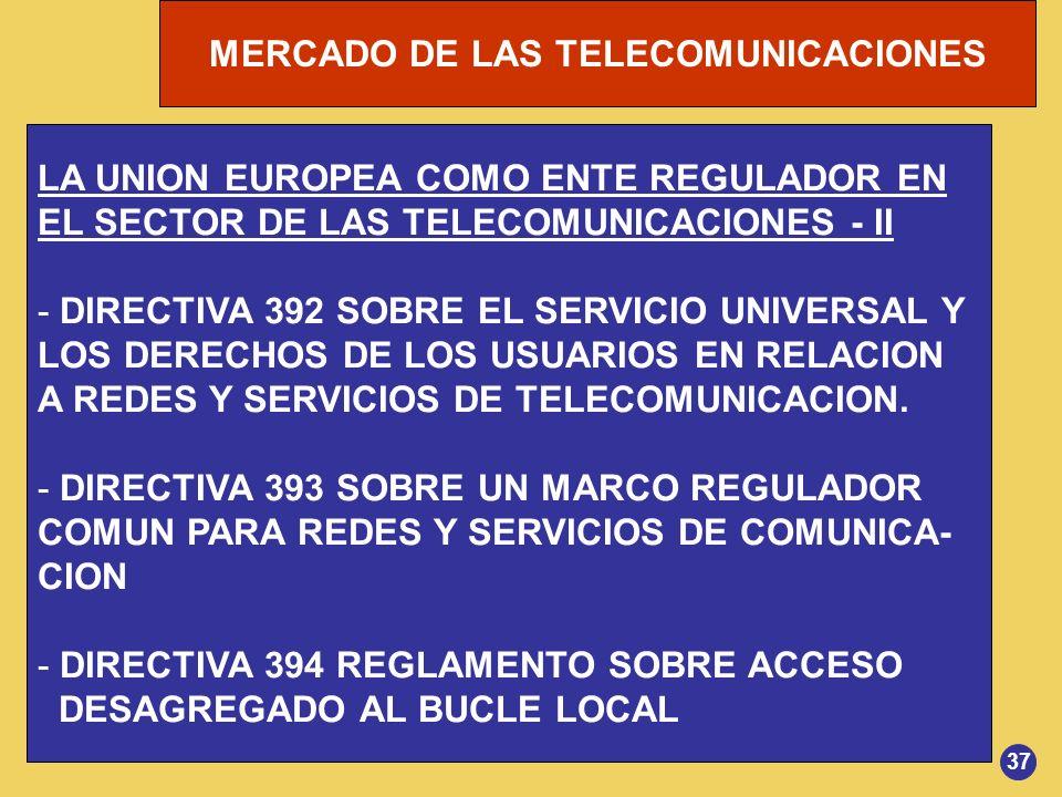 MERCADO DE LAS TELECOMUNICACIONES LA UNION EUROPEA COMO ENTE REGULADOR EN EL SECTOR DE LAS TELECOMUNICACIONES - II - DIRECTIVA 392 SOBRE EL SERVICIO U