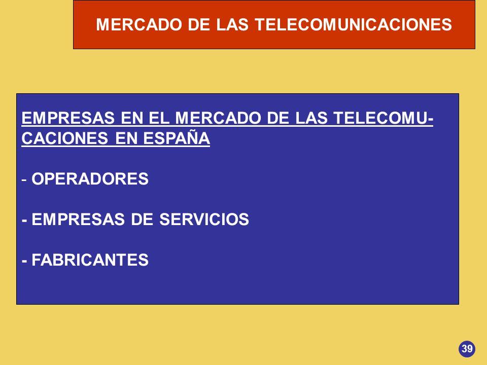 MERCADO DE LAS TELECOMUNICACIONES EMPRESAS EN EL MERCADO DE LAS TELECOMU- CACIONES EN ESPAÑA - OPERADORES - EMPRESAS DE SERVICIOS - FABRICANTES 39