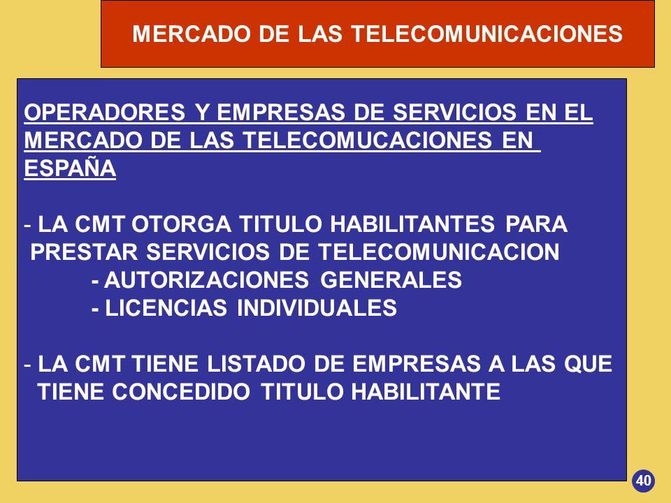 MERCADO DE LAS TELECOMUNICACIONES OPERADORES Y EMPRESAS DE SERVICIOS EN EL MERCADO DE LAS TELECOMUCACIONES EN ESPAÑA - LA CMT OTORGA TITULO HABILITANT