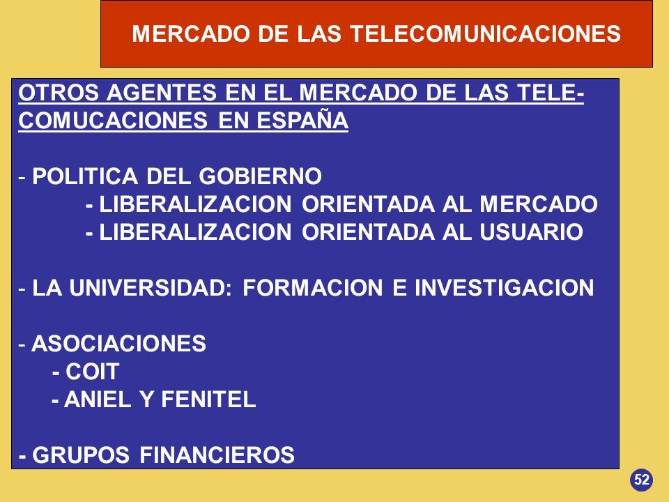 MERCADO DE LAS TELECOMUNICACIONES OTROS AGENTES EN EL MERCADO DE LAS TELE- COMUCACIONES EN ESPAÑA - POLITICA DEL GOBIERNO - LIBERALIZACION ORIENTADA A