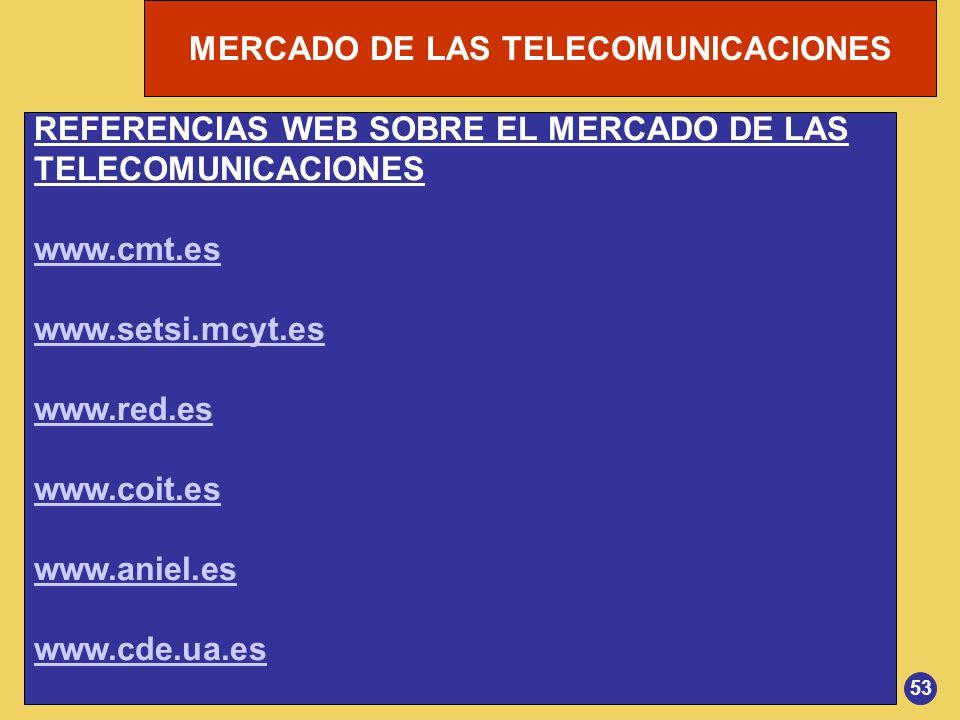 MERCADO DE LAS TELECOMUNICACIONES REFERENCIAS WEB SOBRE EL MERCADO DE LAS TELECOMUNICACIONES www.cmt.es www.setsi.mcyt.es www.red.es www.coit.es www.a