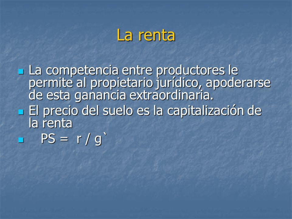 La renta La competencia entre productores le permite al propietario jurídico, apoderarse de esta ganancia extraordinaria. La competencia entre product