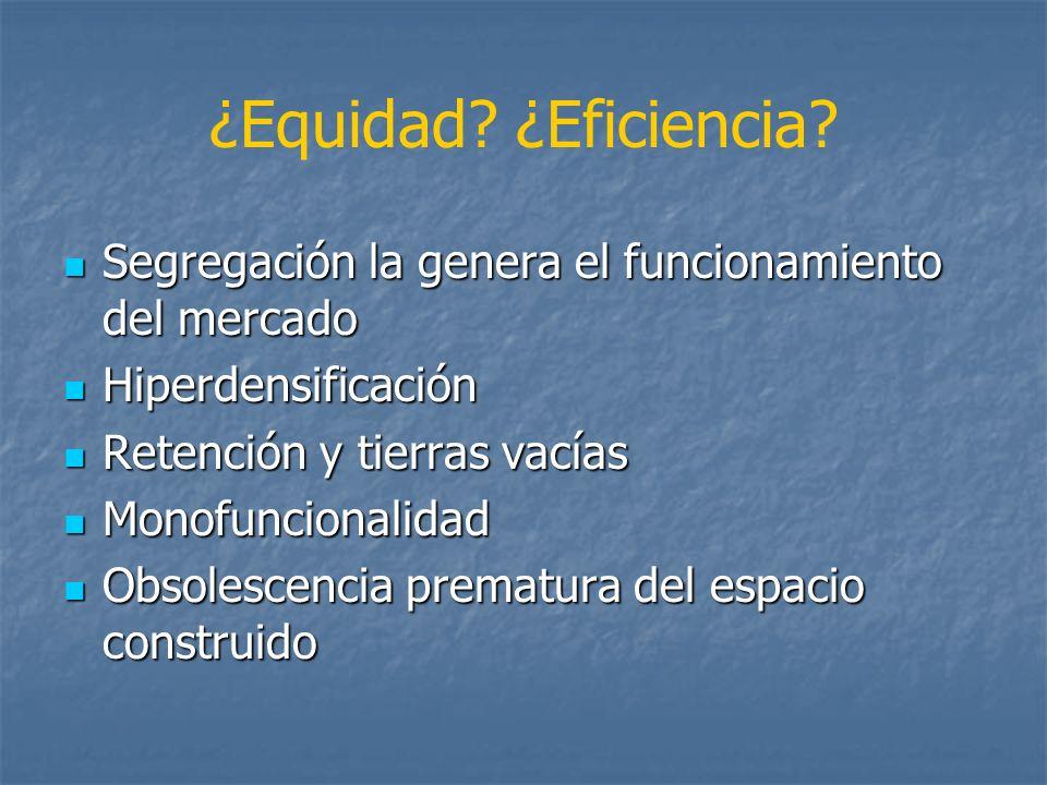 ¿Equidad? ¿Eficiencia? Segregación la genera el funcionamiento del mercado Segregación la genera el funcionamiento del mercado Hiperdensificación Hipe