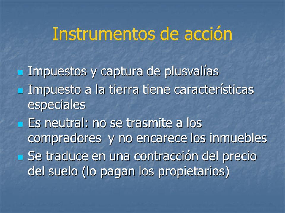 Instrumentos de acción Impuestos y captura de plusvalías Impuestos y captura de plusvalías Impuesto a la tierra tiene características especiales Impue