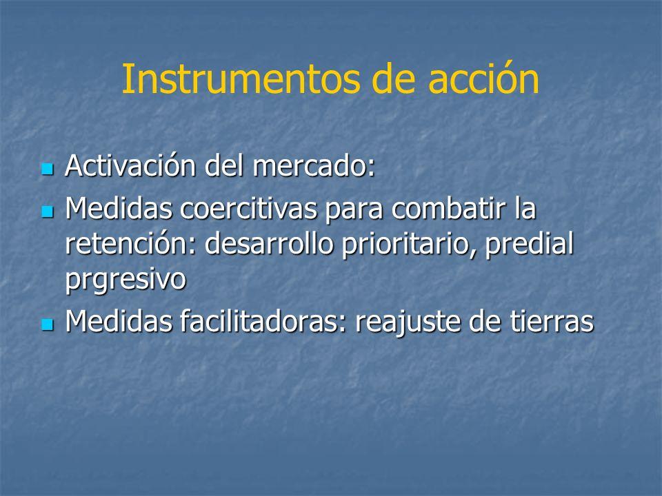 Instrumentos de acción Activación del mercado: Activación del mercado: Medidas coercitivas para combatir la retención: desarrollo prioritario, predial